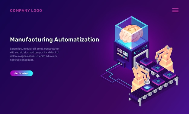 Manufacturing automation isometric concept Free Vector