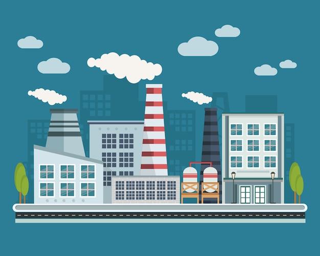 Иллюстрация производственных зданий Бесплатные векторы
