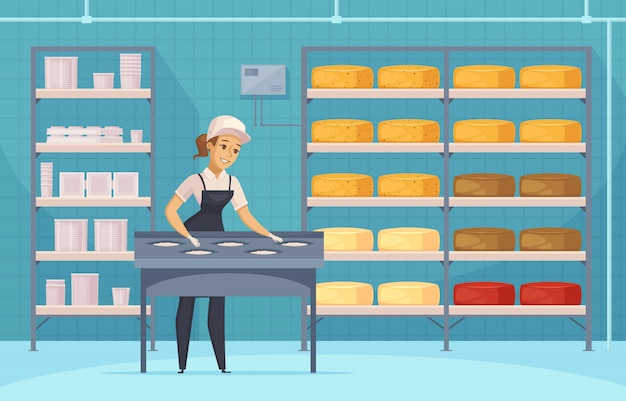 Manufacturing of milk products illustration Free Vector