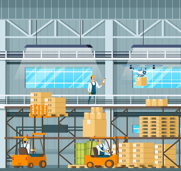 Manufacturing modern warehouse technology process Premium Vector