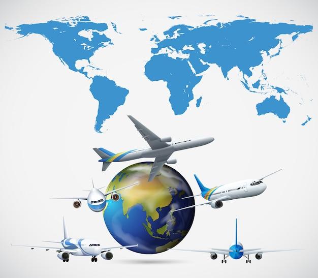 Много самолетов, летающих по всему миру Бесплатные векторы