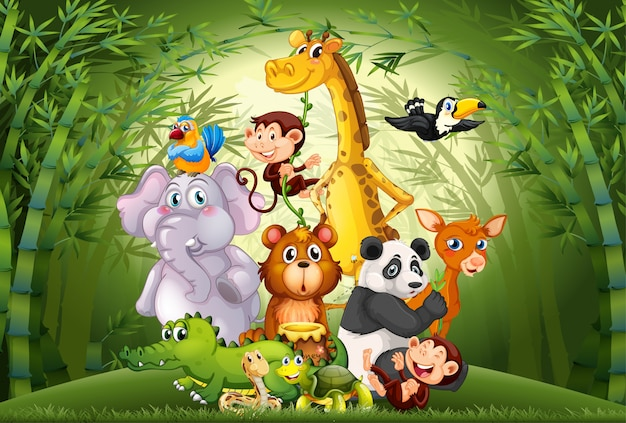 Many animals in bamboo forest Free Vector