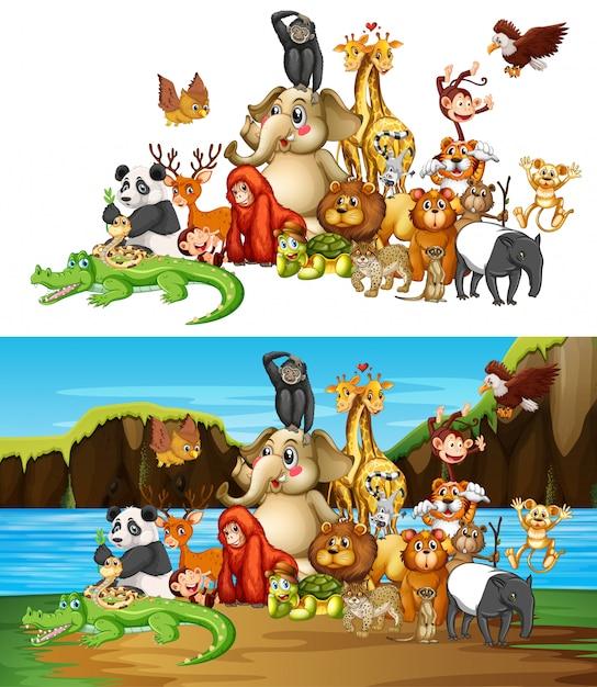 Много животных на двух разных фонах Бесплатные векторы
