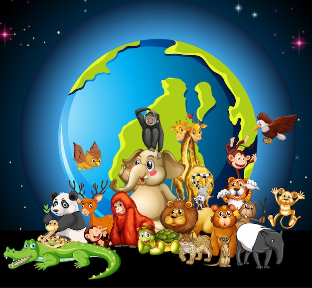 Many animals round the world on white Free Vector