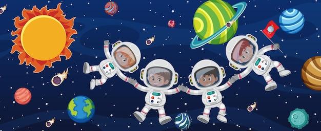 銀河系の背景にいる多くの宇宙飛行士 Premiumベクター