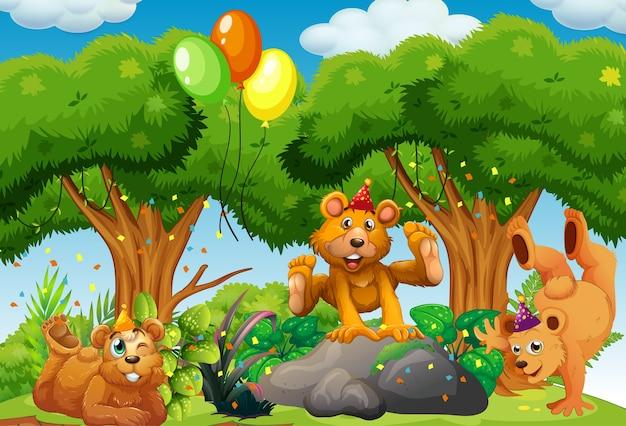 自然の森でパーティーをテーマにした多くのクマ Premiumベクター