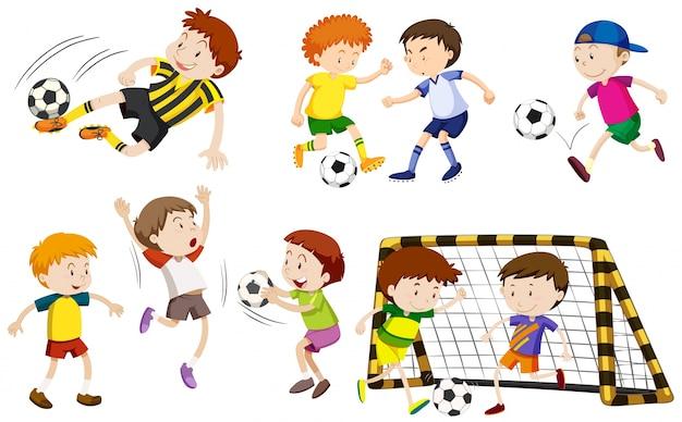 Many boys playing football illustration Free Vector