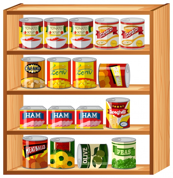 Many canned food on wooden shelves Vector | Free Download