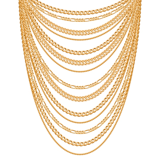 Many chains golden metallic necklace. personal fashion accessory . Premium Vector