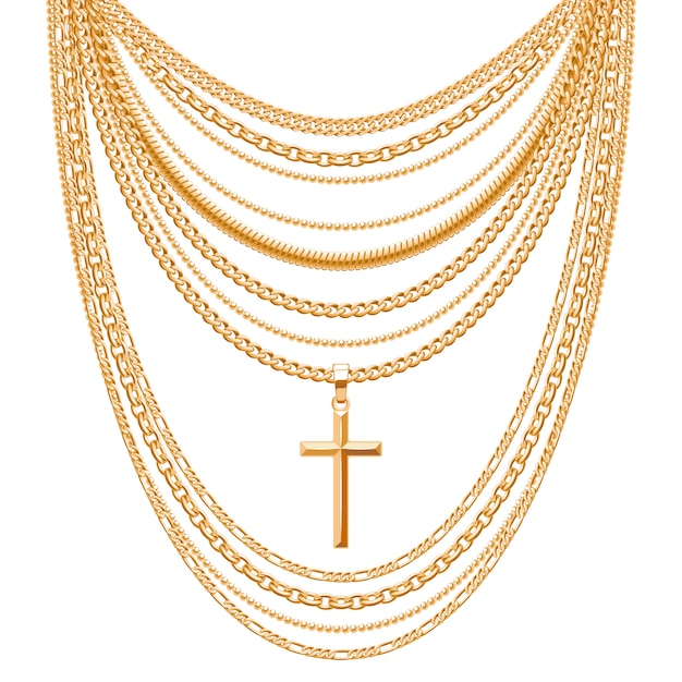 Many chains golden metallic necklace with cross. personal fashion accessory . Premium Vector