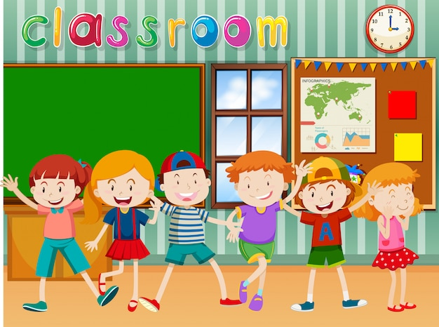 Many children in classroom Free Vector