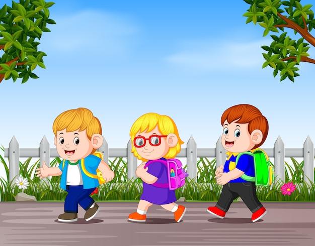 Many children go away to school Premium Vector