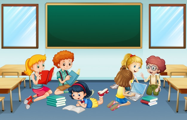 many children reading and working in group at school vector free