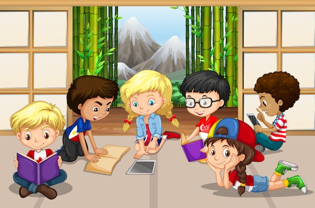 Many children reading in room Free Vector