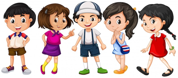 Many children with big smile Free Vector
