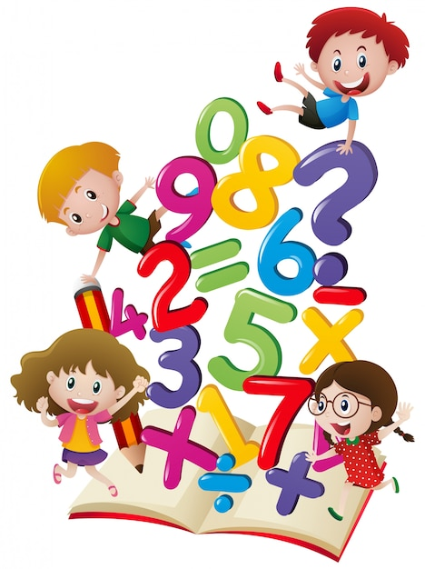Many children with numbers in the book Free Vector