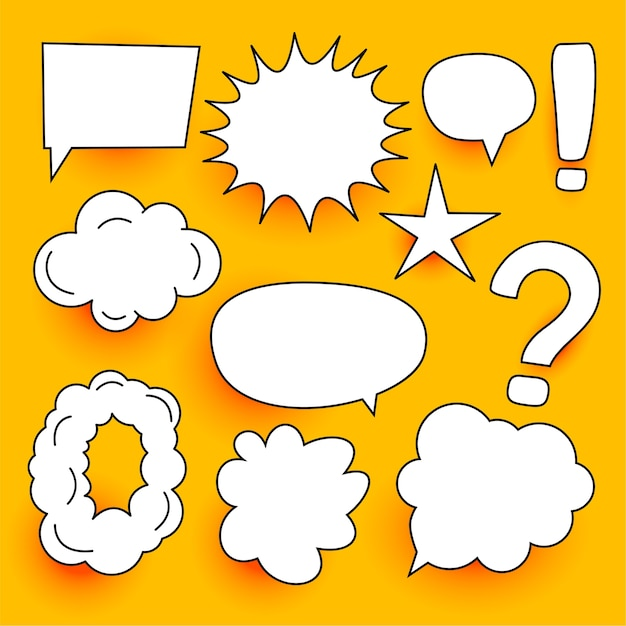 Many comic chat bubbles expressions set design Free Vector