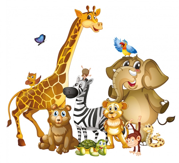 Many cute animals on white background Free Vector