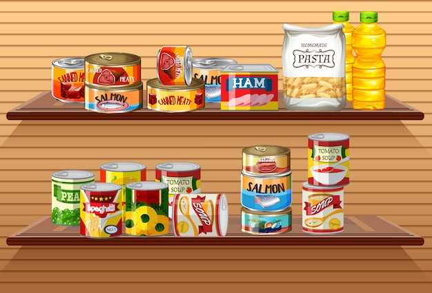 Many different canned foods or processed food on wall shelves Free Vector
