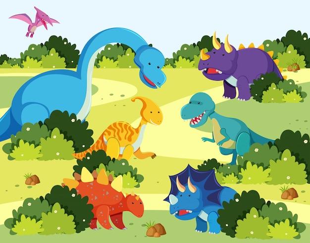Many dinosaur in nature Premium Vector