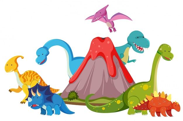 Many dinosaur next to volcano Premium Vector