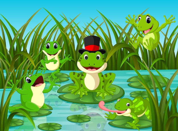 Many frogs on leaf with river scene Premium Vector