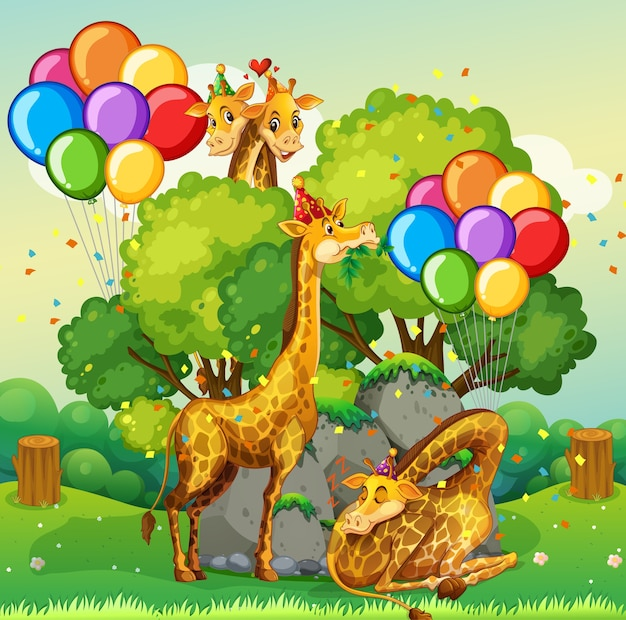 Many giraffes in party theme in nature forest Free Vector