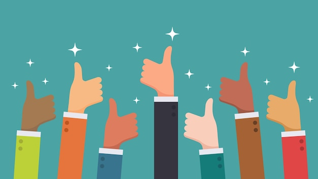 Many hand thumbs up feedback from ethnic group business people concept Premium Vector