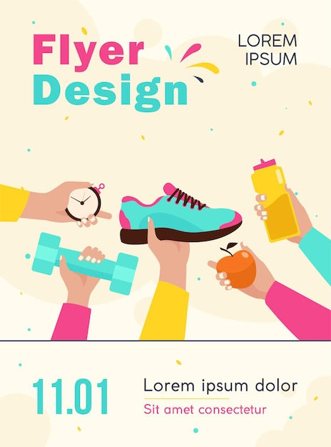 Many hands holding boot, apple, bottle with water, dumbbell flyer template Free Vector