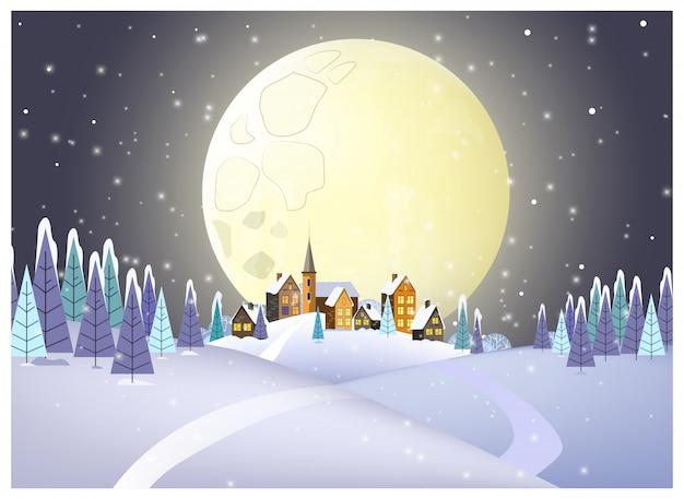 Many houses against full moon illustration Free Vector