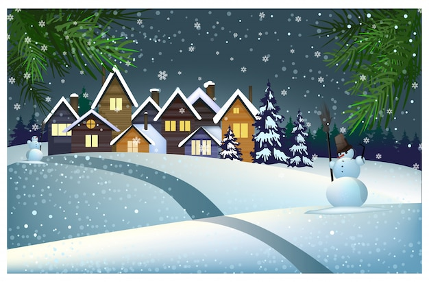 Many houses with snow on roof in town illustration Free Vector