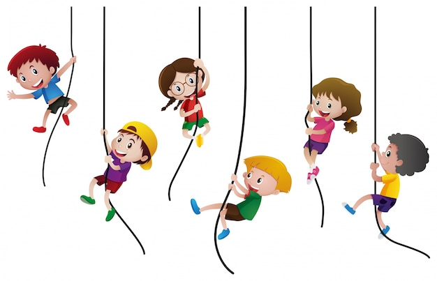 Many kids climbing up the rope Free Vector