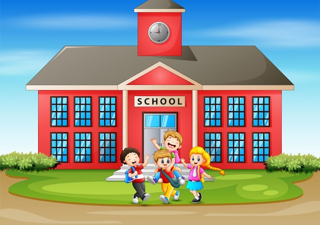 Many kids having fun in front the school Premium Vector
