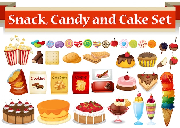 Many kind of snack and candy illustration Premium Vector