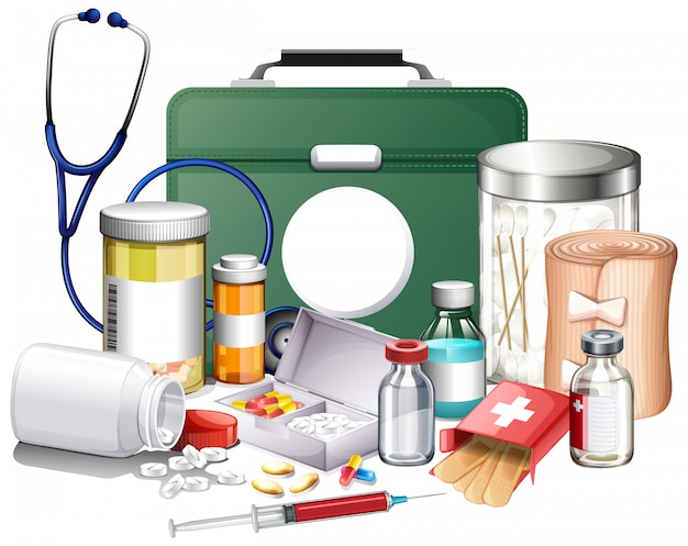 Многие медицинское оборудование и лекарства на белом фоне Бесплатные векторы