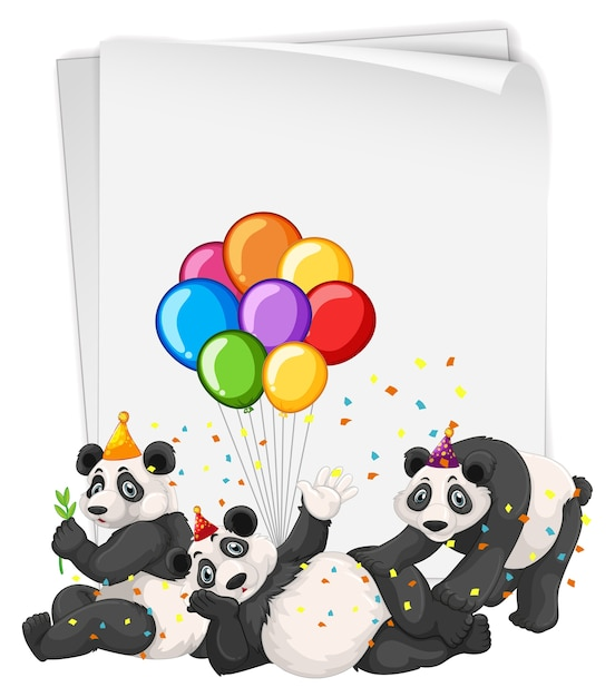 Many pandas in party theme Free Vector