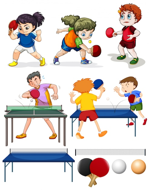 Many people playing table tennis\ illustration