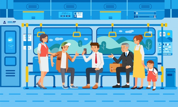 Many people on train with their activities illustration Premium Vector