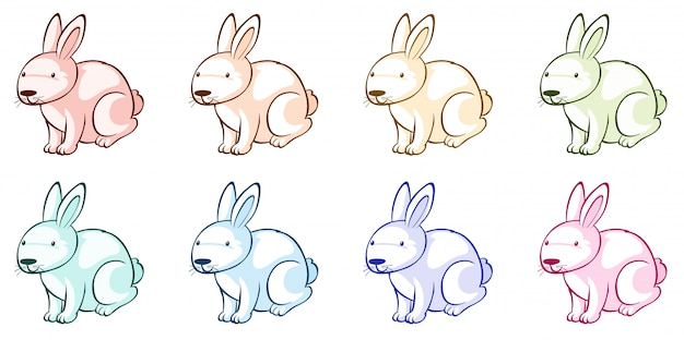 Many rabbits in different colors Free Vector