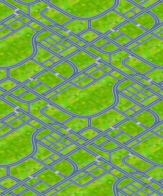 Многие дорожные развязки на фоне травы, изометрической бесшовные модели Premium векторы