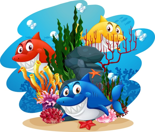Many sharks cartoon character in the underwater background Free Vector