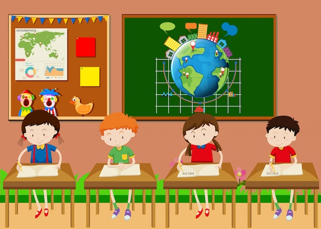 Many students learning in classroom Free Vector