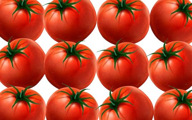 多くのトマトイラスト白い背景3dイラスト Premiumベクター