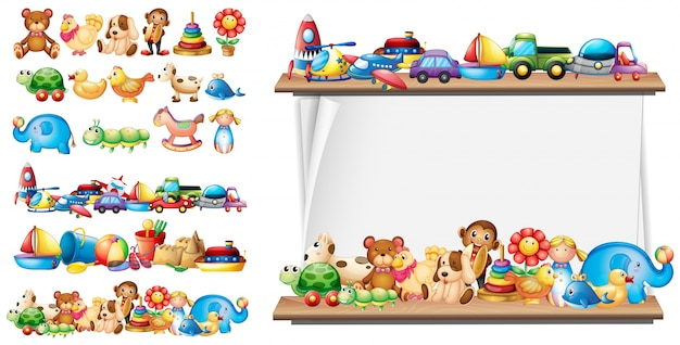 Many types of toys and paper template Free Vector