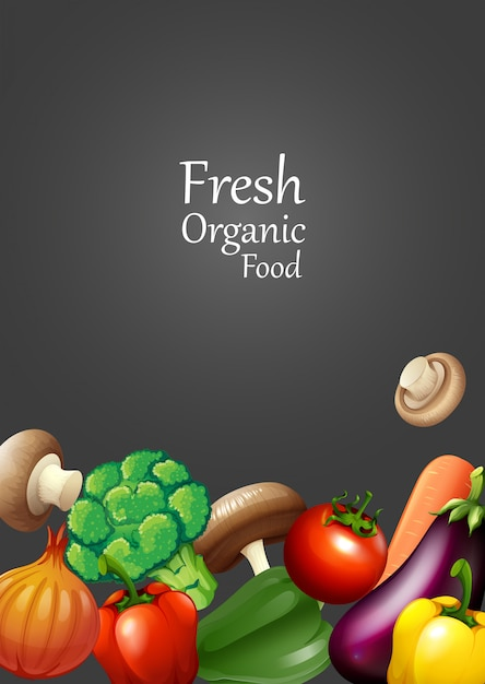 Many vegetables and text design Free Vector