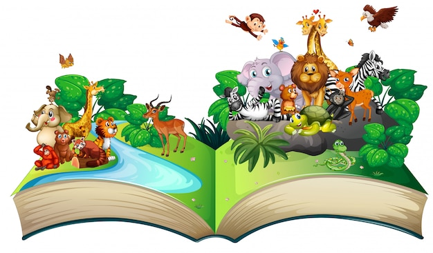 Many wild animals in the forest Free Vector