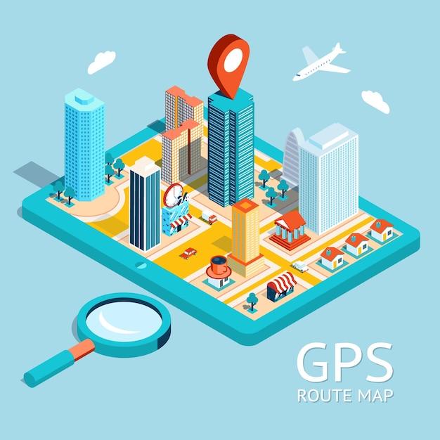指定された目的地でタブレット上の小さな町をマッピングします。 gpsルートマップ。シティナビゲーションアプリ。 無料ベクター