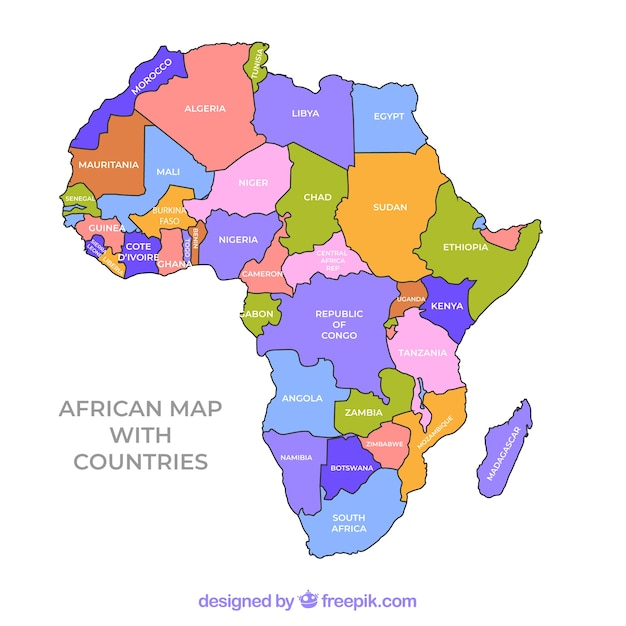 Map of africa continent with different colors Vector ...
