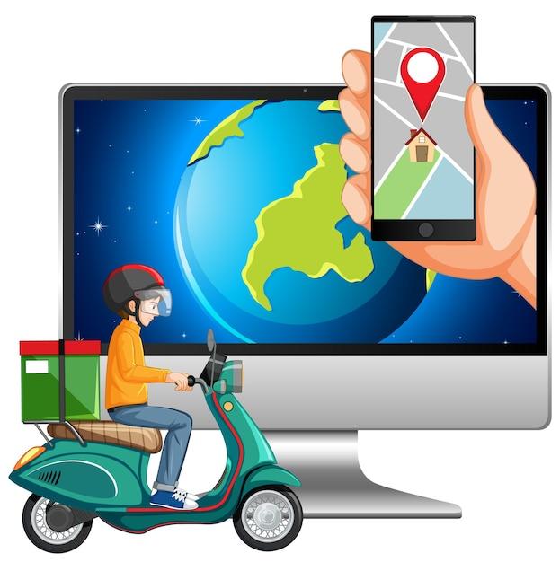 Карта и расположение на электронных устройствах Бесплатные векторы