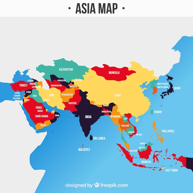 Download Map Of Asia.Map Of Asia Continent With Different Colors Vector Free Download
